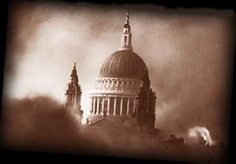 St.Pauls Cathedral in the middle of the blitz.